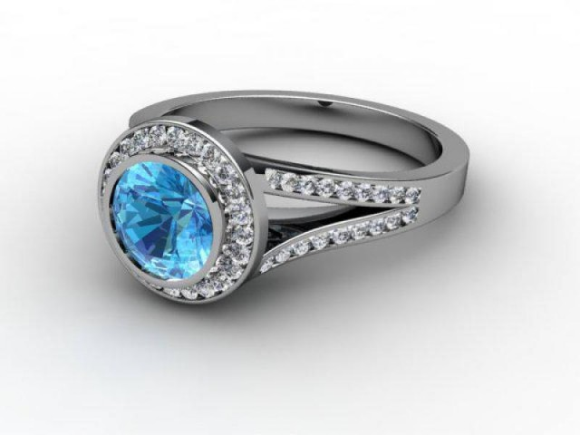 Natural Blue Topaz and Diamond Ring. Platinum (950)