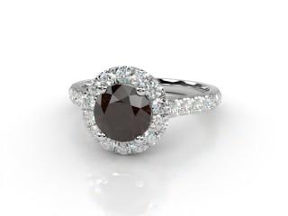 Natural Smoky Quartz and Diamond Halo Ring. Hallmarked Platinum (950)-01-0139-8944