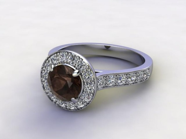 Natural Smoky Quartz and Diamond Halo Ring. Hallmarked Platinum (950)
