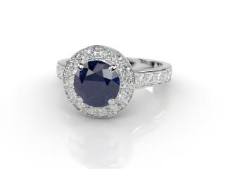 Natural Kanchanaburi Sapphire and Diamond Halo Ring. Hallmarked Platinum (950)-01-0147-8945