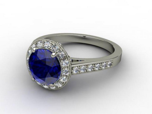 Natural Blue Sapphire and Diamond Ring. Platinum (950)