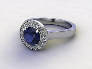 Natural Iolite and Diamond Halo Ring. Hallmarked Platinum (950)-01-0150-8942