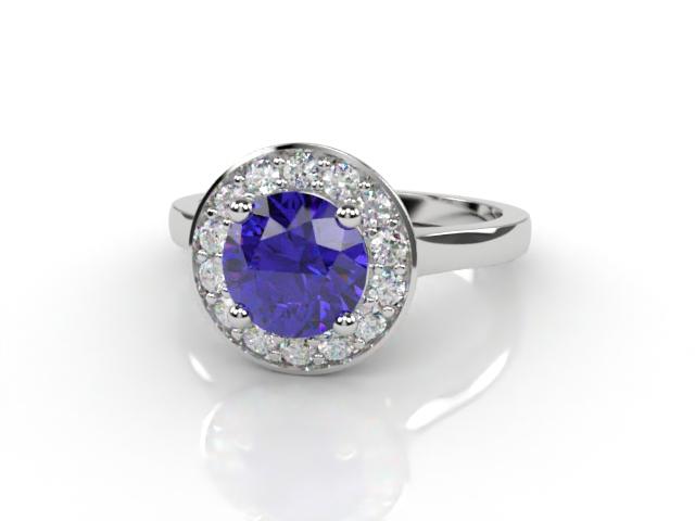 Natural Iolite and Diamond Halo Ring. Hallmarked Platinum (950)
