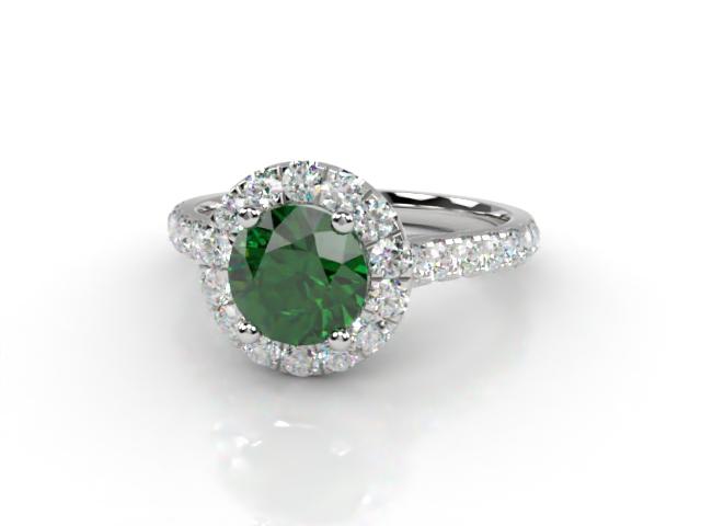 Natural Green Tourmaline and Diamond Halo Ring. Hallmarked Platinum (950)