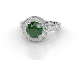 Natural Green Tourmaline and Diamond Halo Ring. Hallmarked Platinum (950)-01-0151-8945