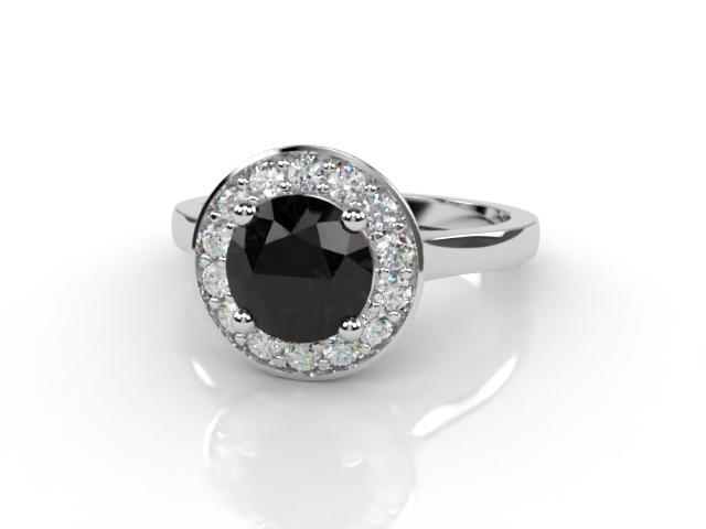 Natural Black Diamond and Diamond Halo Ring. Hallmarked Platinum (950)