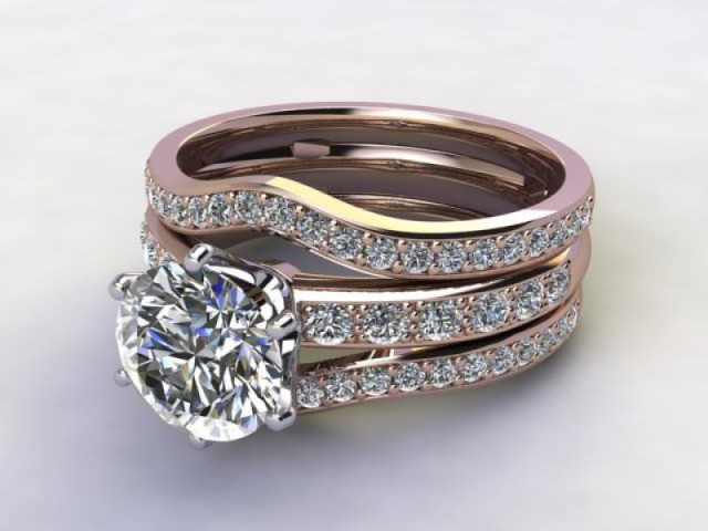 Bridal-Set | 18ct. Rose Gold 3 Part Diamond Engagement Ring-Set, Round Brilliant-cut Certified Diamond Selected by You