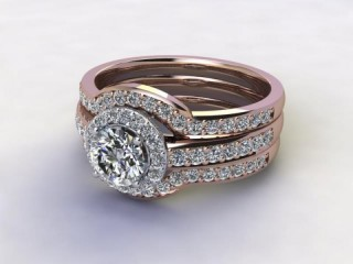 Bridal-Set | 18ct. Rose Gold 3 Part Diamond Engagement Ring-Set, Round Brilliant-cut Certified Diamond Selected by You-01-0400-1409