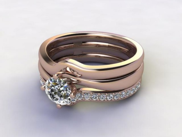 Bridal-Set | 18ct. Rose Gold 3 Part Diamond Engagement Ring-Set, Round Brilliant-cut Certified Diamond Selected by You - Main Picture