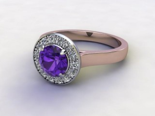 Natural Amethyst and Diamond Halo Ring. Hallmarked 18ct. Rose Gold-01-0412-8942
