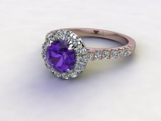 Natural Amethyst and Diamond Halo Ring. Hallmarked 18ct. Rose Gold-01-0412-8944