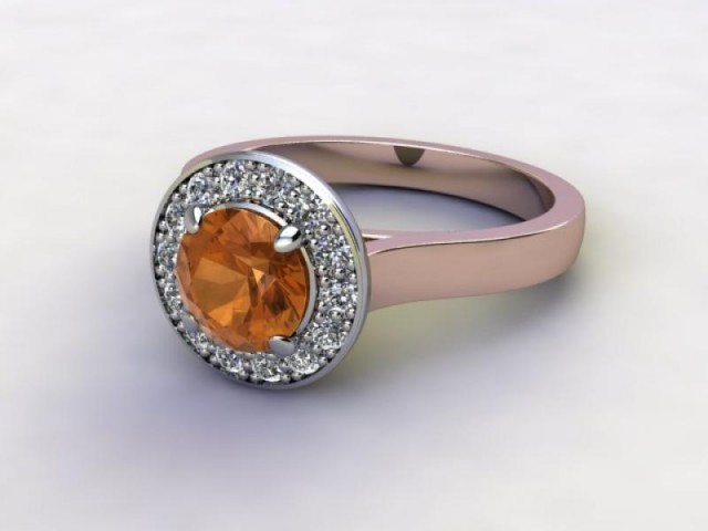 Natural Golden Citrine and Diamond Halo Ring. Hallmarked 18ct. Rose Gold
