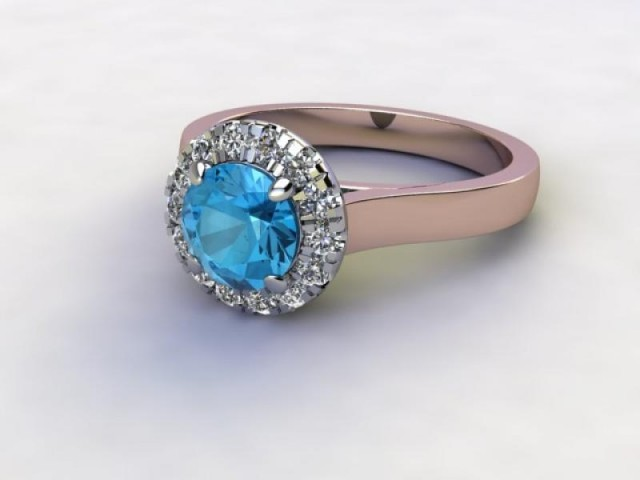 Natural Sky Blue Topaz and Diamond Halo Ring. Hallmarked 18ct. Rose Gold