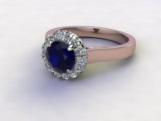 Natural Kanchanaburi Sapphire and Diamond Halo Ring. Hallmarked 18ct. Rose Gold-01-0447-8943