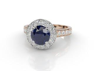 Natural Kanchanaburi Sapphire and Diamond Halo Ring. Hallmarked 18ct. Rose Gold-01-0447-8945