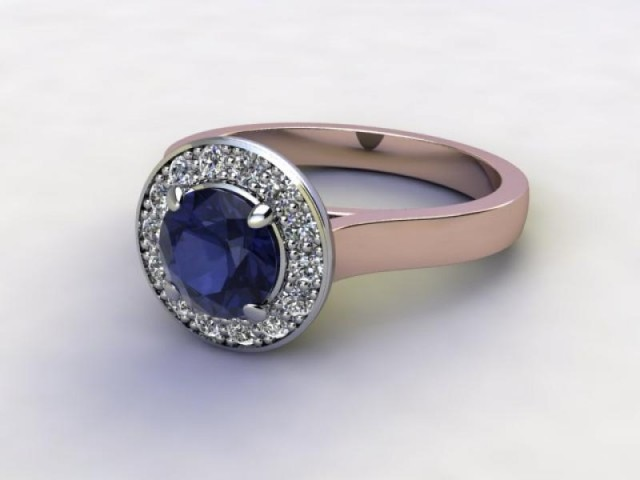 Natural Iolite and Diamond Halo Ring. Hallmarked 18ct. Rose Gold