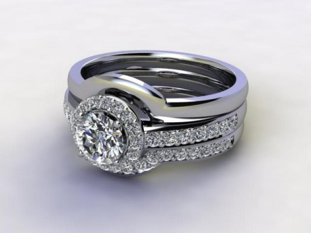 Bridal-Set | 18ct. White Gold 3 Part Diamond Engagement Ring-Set, Round Brilliant-cut Certified Diamond Selected by You