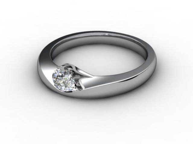 Certificated Round Diamond Solitaire Engagement Ring in 18ct. White Gold - Main Picture