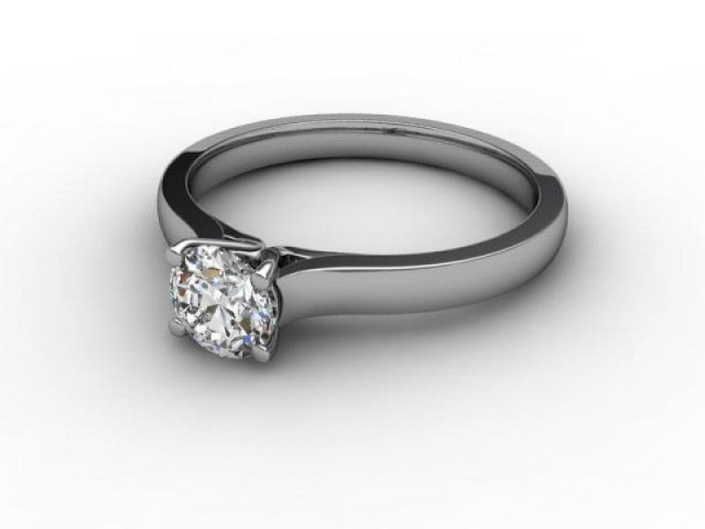 Certificated Round Diamond Solitaire Engagement Ring in 18ct. White Gold