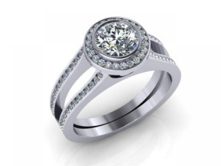 Certificated Round Diamond in 18ct. White Gold
