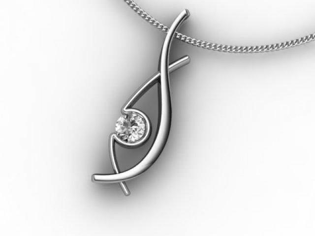 Designer Pendant,  18ct White Gold - Round