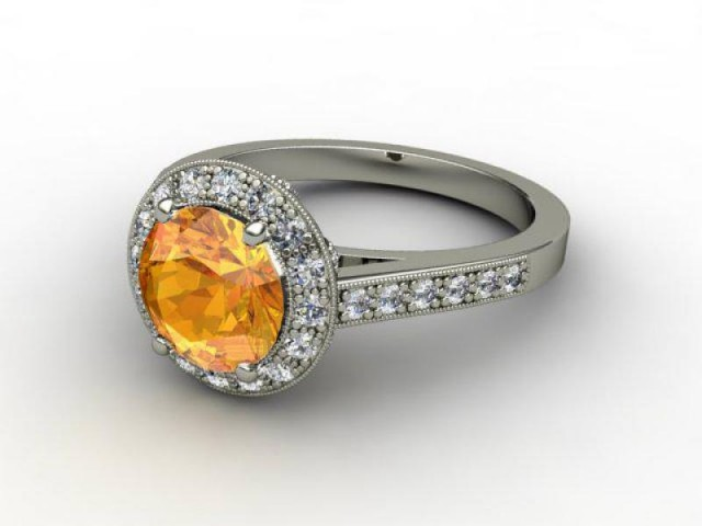 Natural Golden Citrine and Diamond Ring. 18ct White Gold