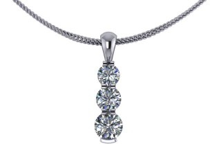 Designer Diamond Pendant and Chain,  18ct. White Gold-01-05142