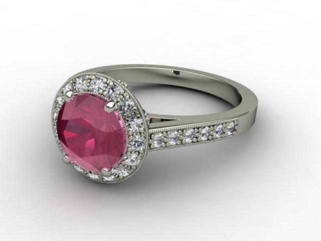 Natural Ruby and Diamond Ring. 18ct White Gold