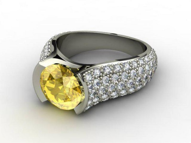 Natural Yellow Sapphire and Diamond Ring. 18ct White Gold
