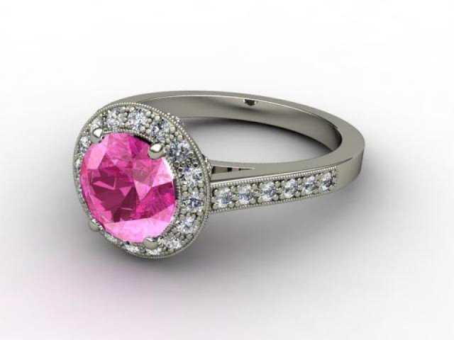 Natural Pink Sapphire and Diamond Ring. 18ct White Gold