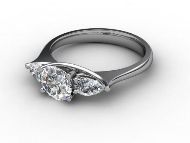 Trilogy 18ct. White Gold Round & Pearshape Diamond