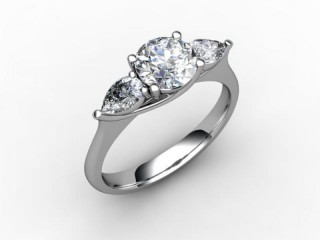 Trilogy 18ct. White Gold Round & Pearshape Diamond - 15