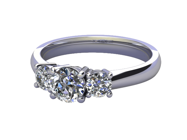Trilogy 18ct. White Gold Round Brilliant-Cut Diamond
