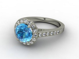 Natural Blue Topaz and Diamond Ring. 18ct White Gold-01-0538-9001