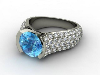 Natural Blue Topaz and Diamond Ring. 18ct White Gold-01-0538-9003