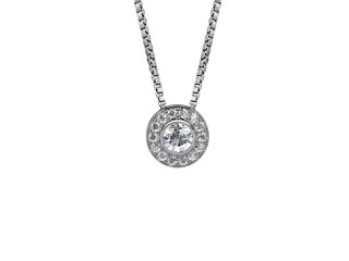 0.46cts. Certified Round Diamond Halo Pendant & Chain-01-05624-25