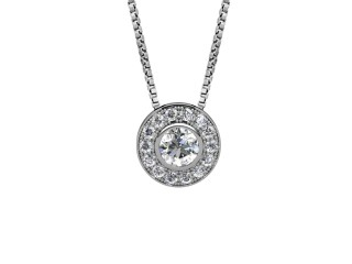 0.85cts. Certified Round Diamond Halo Pendant & Chain-01-05624-50