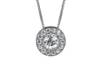 1.17cts. Certified Princess-Cut Diamond Halo Pendant & Chain-01-05624-75