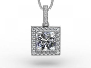 1.42cts. Certified Princess-Cut Diamond Halo Pendant & Chain-01-05625-125