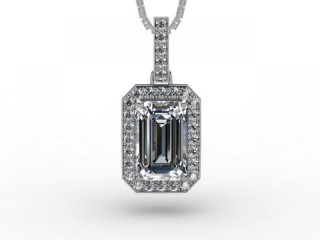 0.82cts. Certified Emerald-Cut Diamond Halo Pendant & Chain-01-05627-050