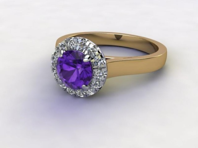 Natural Amethyst and Diamond Halo Ring. Hallmarked 18ct. Yellow Gold