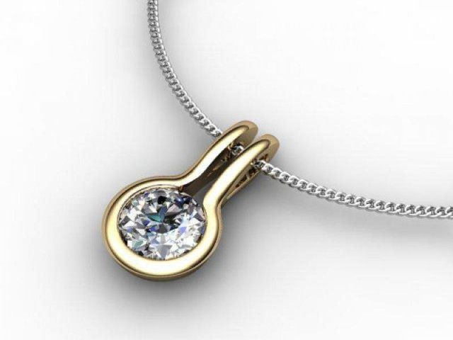 Designer Pendant,  18ct Yellow & White Gold - Round