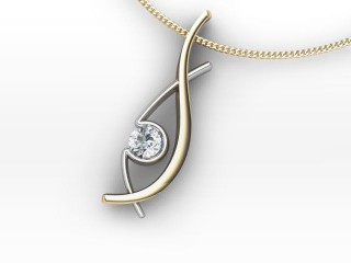 Designer Pendant,  18ct Yellow & White Gold - Round-01-28136
