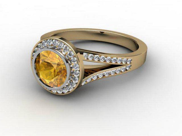 Natural Golden Citrine and Diamond Ring. 18ct Yellow Gold