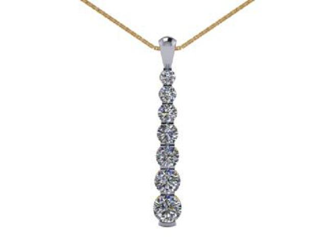 Designer Diamond Pendant and Chain,  18ct. Yellow & White Gold
