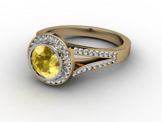 Natural Yellow Sapphire and Diamond Ring. 18ct Yellow Gold
