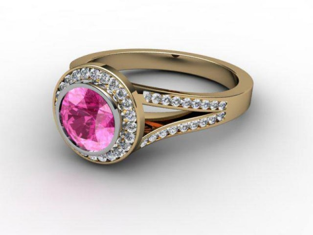 Natural Pink Sapphire and Diamond Ring. 18ct Yellow Gold