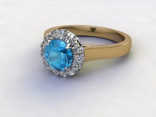 Natural Sky Blue Topaz and Diamond Halo Ring. Hallmarked 18ct. Yellow Gold-01-2838-8943