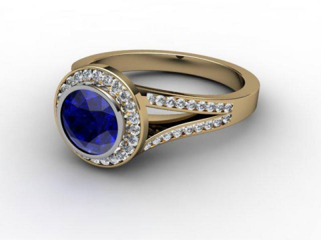 Natural Blue Sapphire and Diamond Ring. 18ct Yellow Gold