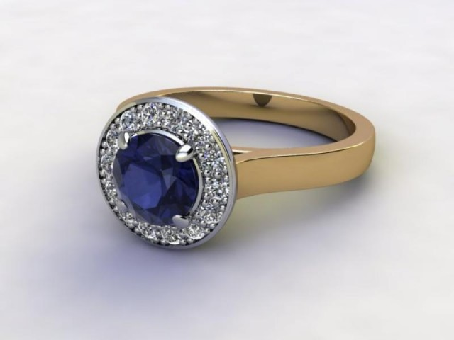Natural Iolite and Diamond Halo Ring. Hallmarked 18ct. Yellow Gold